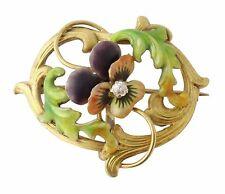 Antique Art Nouveau 14K Gold Enamel Diamond Pansy Whiplash Watch Pin Brooch