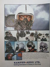 4/1986 PUB KANFER AERO SAFETY SURVIVAL HELMET OXYGEN MASK ANTI-G CASQUE FLARE AD