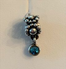 Pandora sterling silver 'Daisy' Light Turquoise Blue Crystal Dangle bead charm
