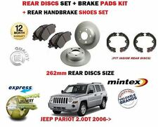 FOR JEEP PATRIOT 2.0DT 2.2DT 2.4 2006> REAR BRAKE DISCS 262mm SET + PADS + SHOES