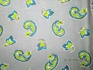 VTG 36X48 GREY W GREEN BLUE PAISLEY NOVELTY FEEDSACK FABRIC QUILT CRAFT PROJECT