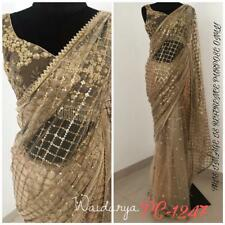 Designer Net Sari Saree Indian Ethnic Wedding Wear Sequence Work Blouse Lehenga