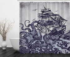 Shower Curtain Bathroom Decor Hand Draw Boat Waves & Octopus Fabric Blue
