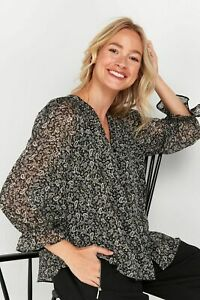 Wallis Womens TALL Black Paisley Print Frill Cuff Top Shirt Blouse 3/4 Sleeve