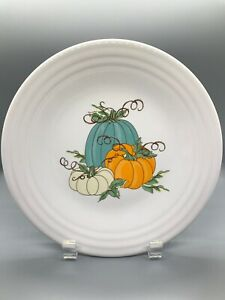 Fiesta Pumpkin Trio Luncheon Plate Fiestaware White Turquoise Butterscotch Lunch