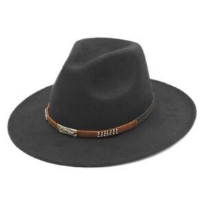 Cool Adult Wool Blend Panama Fedora Hat Wide Brim Church Jazz Cap Outdoor Winter