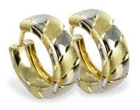 ECHT GOLD *** Ohrringe Klapp- Creolen bicolor  diamantiert 15 mm