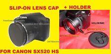 FRONT SLIP-ON LENS CAP TO> CAMERA CANON POWERSHOT SX520 HS SX520HS SX 520+HOLDER