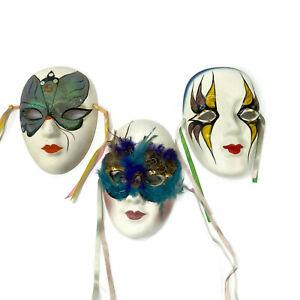 "Mardi Gras Porcelain Venetian Masks 7"" x 5"" Lot of 3"