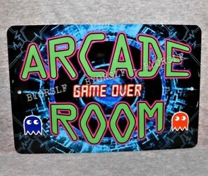"Metal Sign ARCADE ROOM video game retro gamer gaming machine system 8"" x 12"""