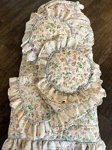 Vintage Comforter Set Full Floral Cottage Core Lace Pillow Bed Skirt Ivory Quilt