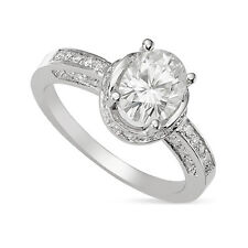 2.80 CT OVAL FOREVER ONE GHI MOISSANITE HALO  ENGAGEMENT RING