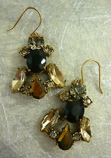 "NEW J. CREW CRYSTAL ROW EARRINGS BLACK GOLD CZECH GLASS STONES 1-3/4""L"