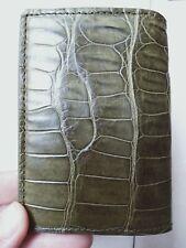 Crocodile Leather Credit Card Holder DOUBLE SIDE Genuine Alligator GREEN