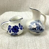 Vintage Dutch Blue White Pottery Miniature Jug Hand Painted Windmill Holland