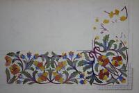 ARTS & CRAFTS BORDER Watercolour Painting L E MOODIE c1935