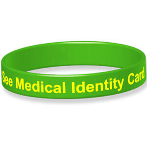 Silicone Medical Wristband See Medical Identity Card