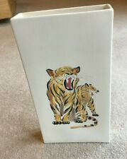 Attractive oblong shaped Vase with Hand Painted Tiger design