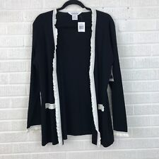 Exclusively Misook Medium Black Ruffle Trim Acrylic Knit Open Front Cardigan
