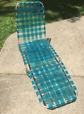 Vintage Aluminum Folding Chaise Lounge Chair Translucent Blue Vinyl Webbing