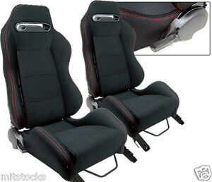 2 BLACK CLOTH + RED STITCH RACING SEATS RECLINABLE + SLIDERS PONTIAC NEW **
