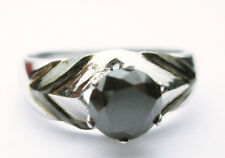 AAA 1.57 ct black round cut SOLITAIRE sterling silve wedding ring graded $ 561