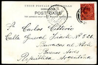 BRITISH GIBRALTAR TO ARGENTINA Circulated Postcard 1906 VERY RARE DESTINATION VF
