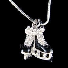 ~Black 3D Ice Skating Skates~ made with Swarovski Crystal Figure Hockey Necklace