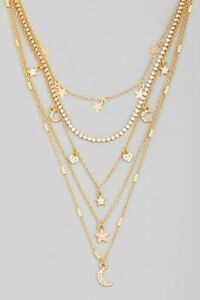 Womens Multi Chain Layered Rhinestone Fashion Charm Statement Necklace