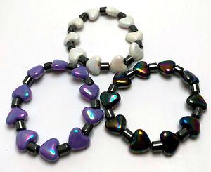 1 Set Black Pearl Light Purple Love Heart & Metallic Plastic Elastic Bracelet