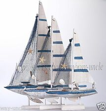 3pcs/SET Wood Sailboat Model Ship Handcrafted Nautical Decoration Beach Themed