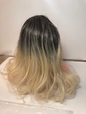 2 Tone Hair Wig Black Fading Into Blonde Has Tag On It