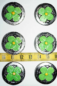 """No. 28 Flower Button Silver Plated Hand Painted Ø 25mm 40 """""""