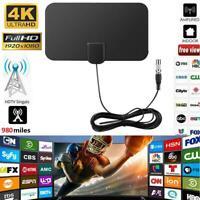 980 Miles Range Mini HD Digital Indoor Amplified TV Antenna HDTV VHF/UHF Black