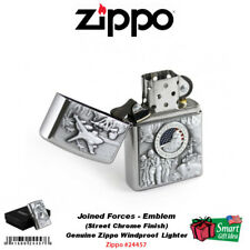Zippo Joined Forces Lighter, Emblem, Street Chrome Military, Windproof #24457