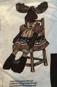 "Daisy Kingdom  Christmas MINNIE MOOSE Fabric Panel 26"" Tall Stuffed Moose NEW"