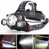 3000LM 3xXm-l T6 LED Rechargeable 18650 USB Headlamp Head Light Torch Lamp