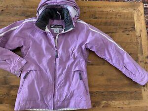 Columbia Purple Insulated Ski Snowboard Jacket Removable Hood Womens Size Small