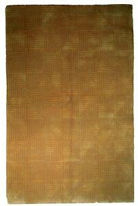 6' x 9' Two Tone Terra Cotta New Light Brown Modern Wool Handmade Rug
