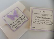 Handmade Personalised Pocketfold Butterfly Wedding Invitation Sample & RSVP