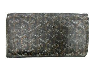 Authentic GOYARD Bifold Long Wallet PVC Leather Black 93920