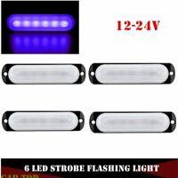 4X 6 LED Truck Trailer Blue Emergency Beacon Caution Hazard Flash Strobe Light