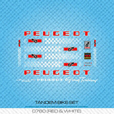 Peugeot Tandem Bicycle Decals - Transfers - Stickers - Red & White - Set 760