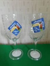 1 Pair Of Clear Hammered Plastic Wine Goblets Outdoor Reusable Alfresco Dining