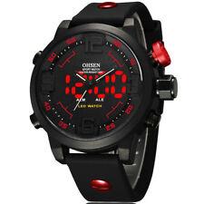 Reloj Deportivo Ohsen LED Digital Hombres Relojes de pulsera de Cuarzo de Acero Correa de Silicona regalos