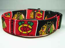 Charming Handmade Chicago Blackhawks Dog Collar Large