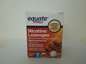 Nicotine Lozenges Stop Smoking Aid Cinnamon 2mg 108 Lozenges Exp 11/2021 Equate
