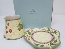 PartyLite Garden Lites Decorative Shade & Tray Ceramic Set For Jar Candle P8098