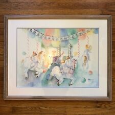 "Annetta Nichols Limited Edition Print #78/1925 Kids On Carousel 33"" x 26"" SIGNED"