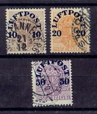 Schweden o MiNr 138 - 140Y Luftpost Aufdruckmarken